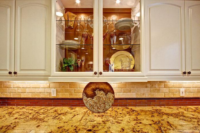 Golden Granite Counters, Custom Glass Tile Splashguard
