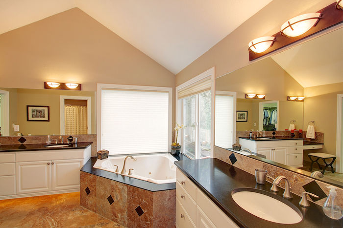 Master Bath with Cabinets Lit from Below
