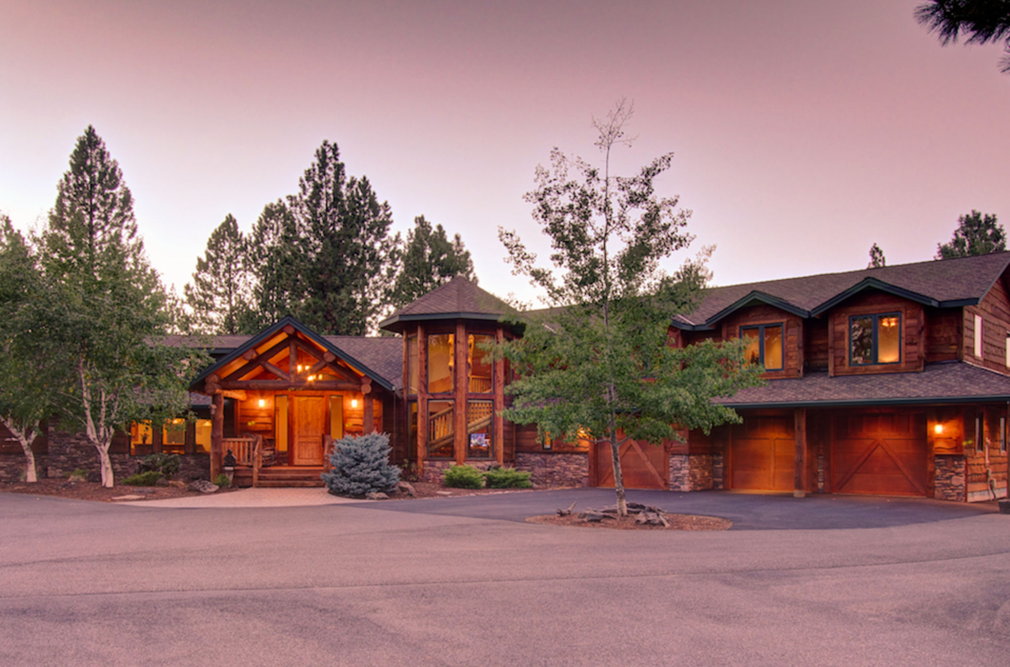 Front of lodge at twilight