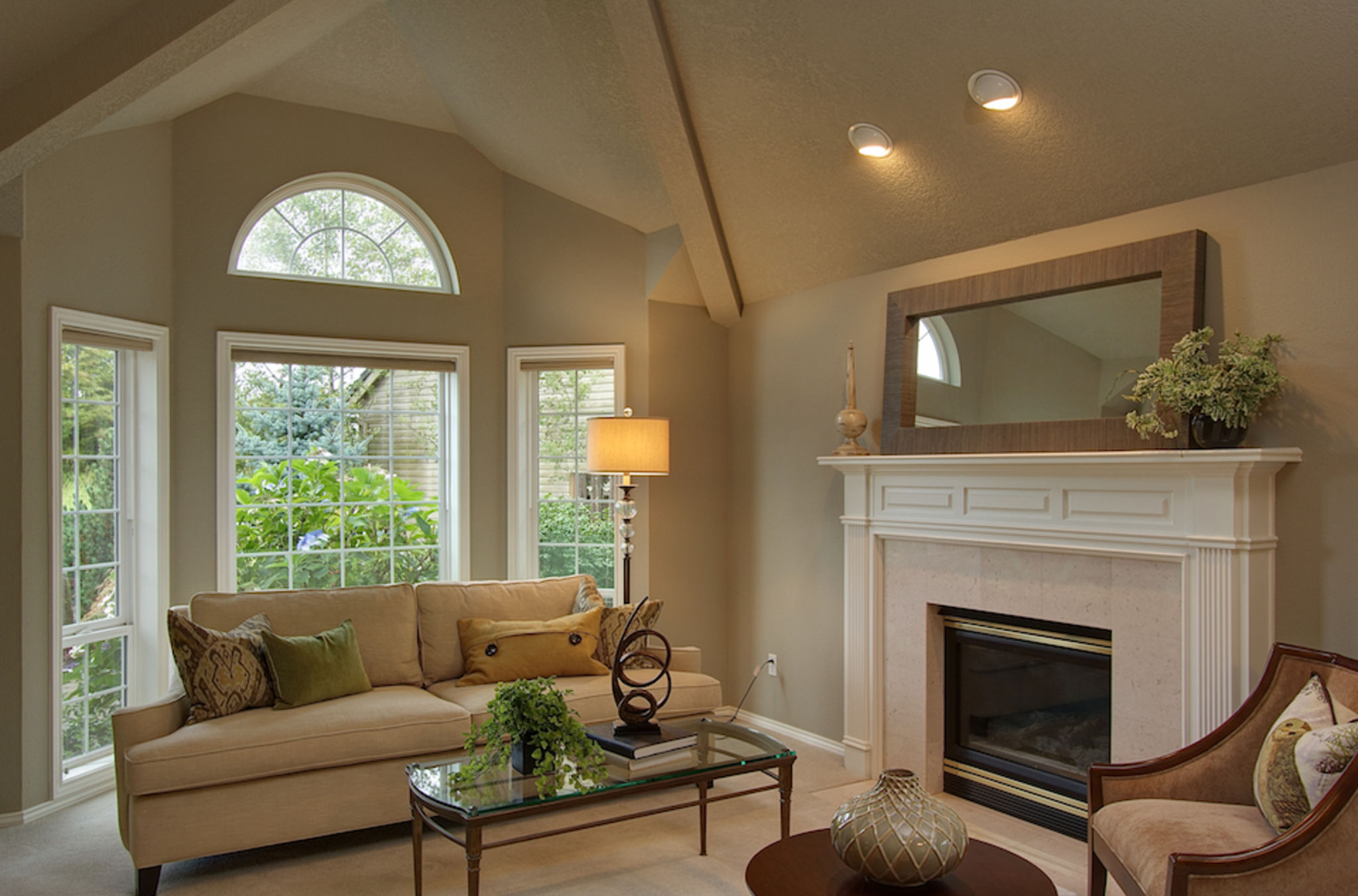 Living room with bay window and fireplace