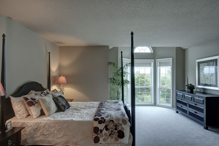 Large master bedroom with natural light