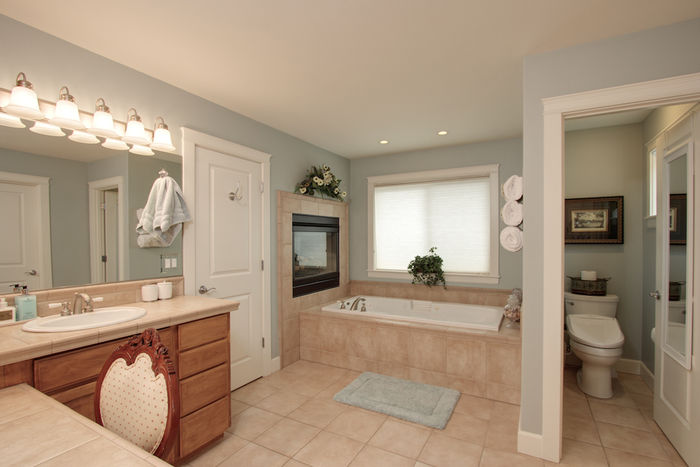Master bathroom with fireplace at head of tub