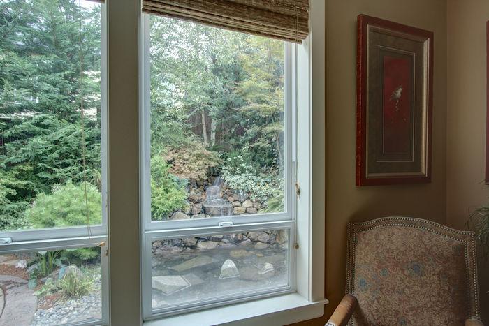 Family room views onto waterfall